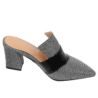 Mee Shoes Damen Chunky Heels Spitz Slip On Pantoffeln