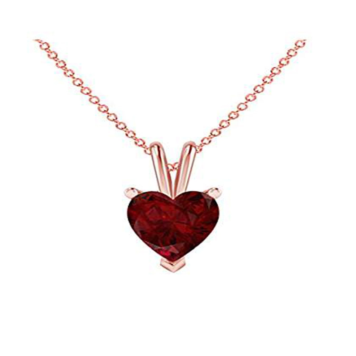 Silverraj Jewels Valentines Day Special 14K Rose Gold Plated Simulated Red Ruby Studded Love Heart Pendant