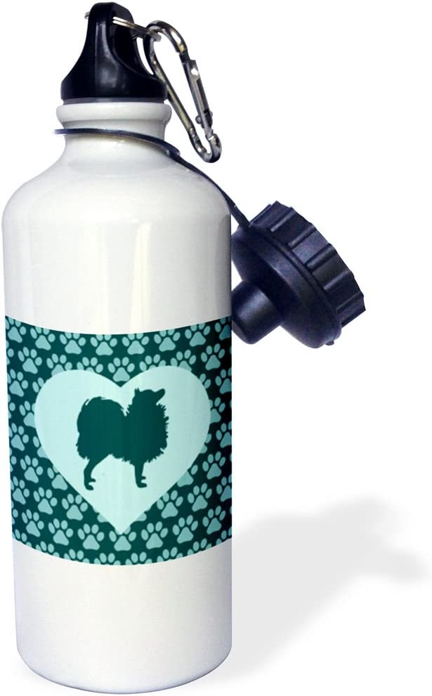 White 21 oz 3dRose wb/_220351/_1Love Pomeranians-Dog in Heart over Doggy Footprints Sports Water Bottle