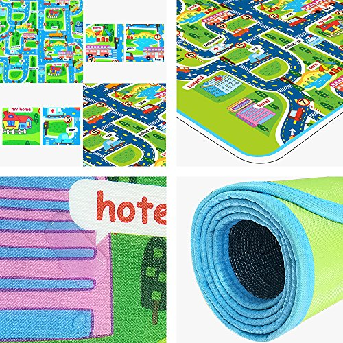 Tiny Wonders Kids Activity Creeping Play Mat, Baby Learning Decor Rug with Road Traffic, Infants Educational Car Carpet with City Town Map, Large and Thick for Floor Bedroom Playroom Safe Area Game by Tiny Wonders (Image #1)