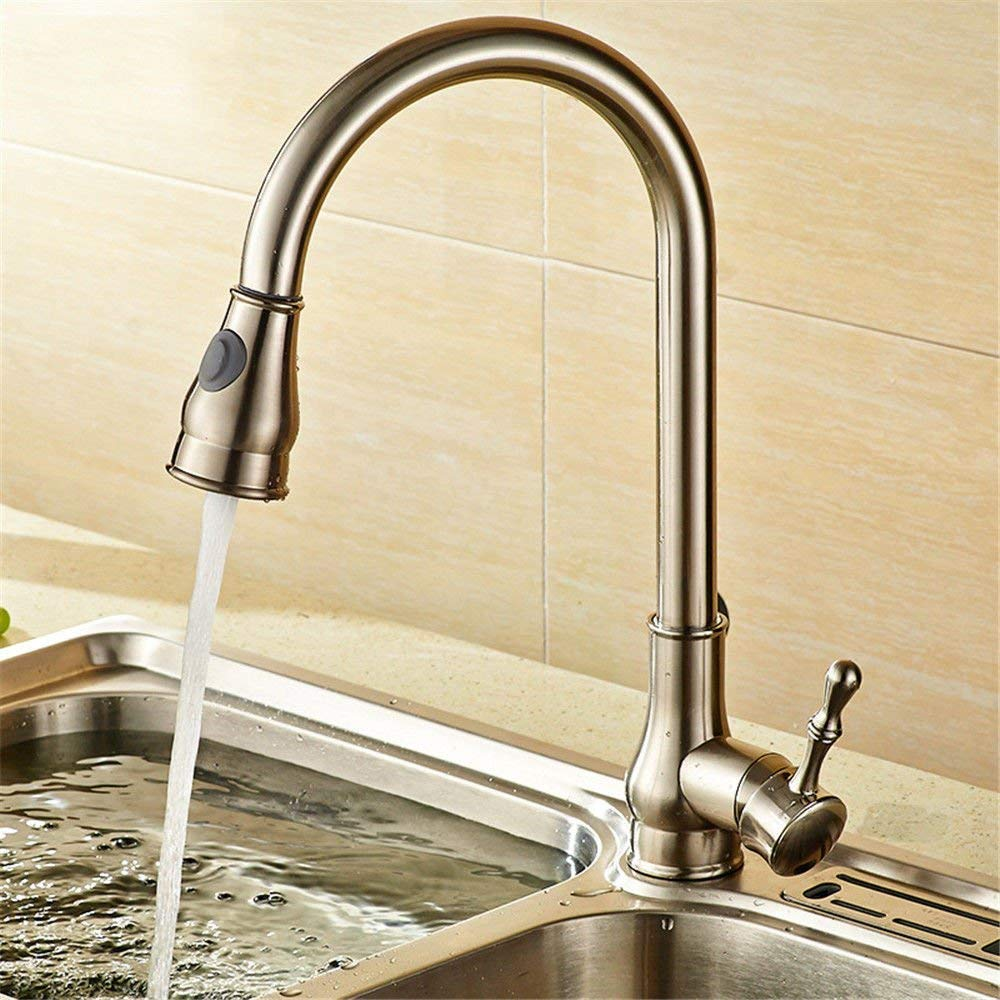 C FERZA home Sink Mixer Tap Bathroom Kitchen Basin Water Tap Leakproof Save Water Black Antique Antique Pull-Down Wire Sinkss Kitchen Copper Black Hot And Cold Water Taps A (color   A)