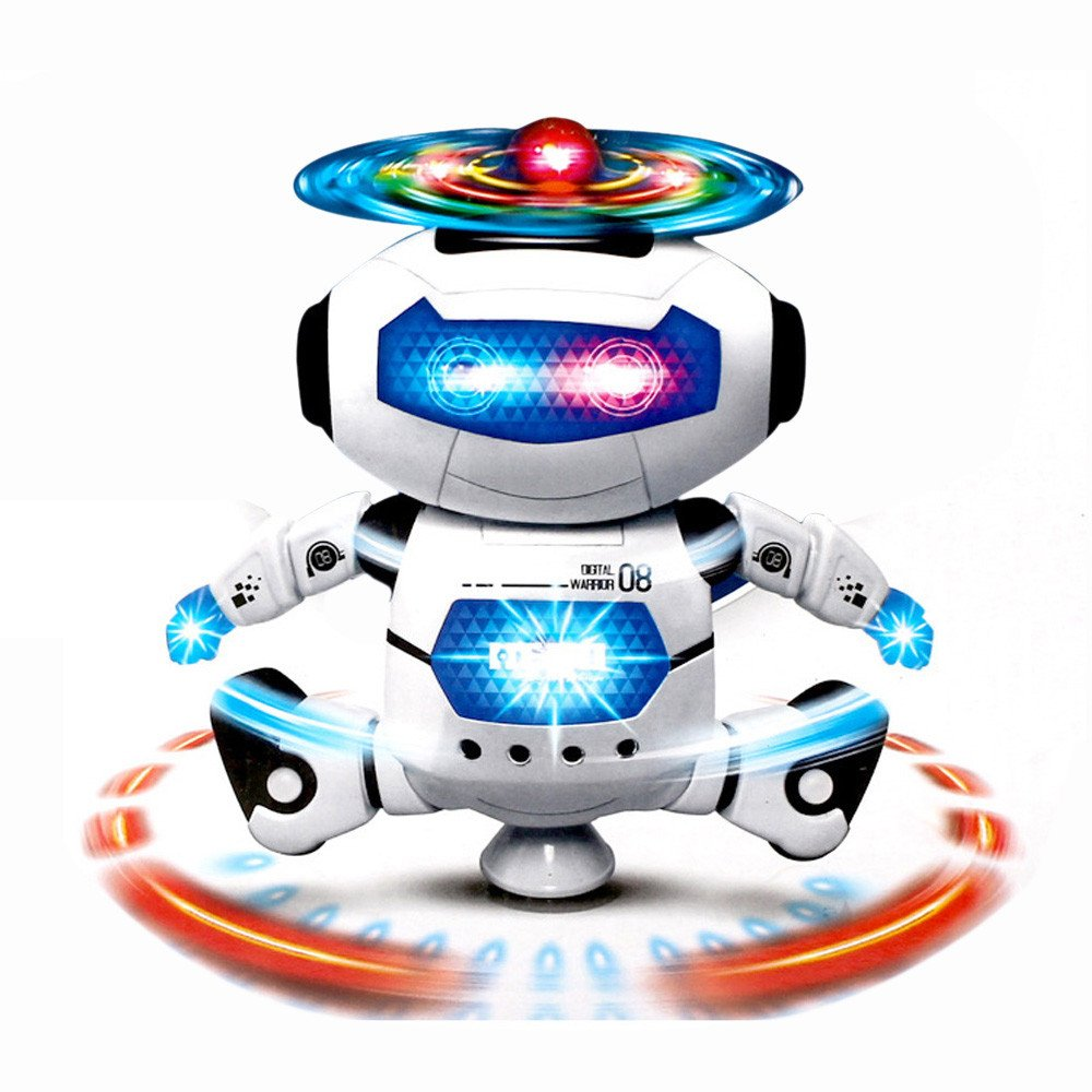 Gbell Smart Space Astronaut Robot- Electronic Walking Dancing Robot with Music Lightening Toys for Kids (White & Blue)