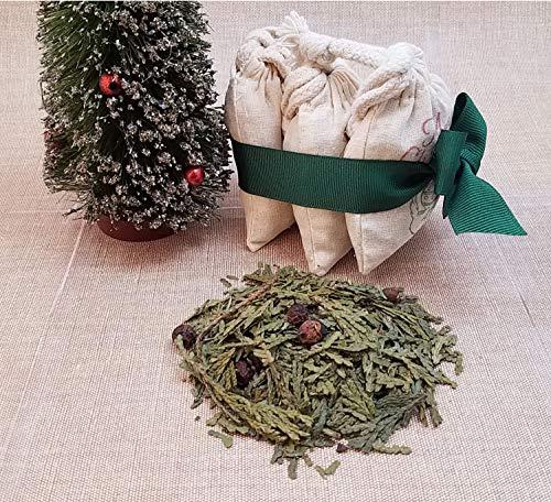 Seasonal Potpourri - Cat In A Christmas Tree Sachet Gift Set, Merry Christmas Herb Sachet, Seasonal Potpourri, Holiday Aromatherapy, Christmas Ornament,