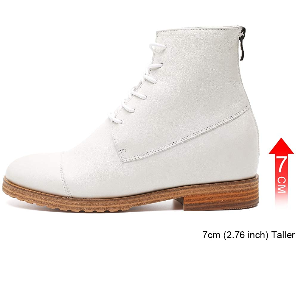 White Hesion Increased Women's shoes Inner Heightening Leather Boots 7cm Vintage shoes Black