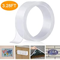 Nano Double Sided Tape, Removable Clear Gel Grip Tape, Reusable Traceless Transparent Sticky Adhesive Tape, Non-Slip Mounting Tape for Carpets, Photos/Posters, Home and Office Use (1M/3.28FT)
