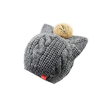 Sombreros y gorras XUERUI Sombrero Mujer Chicas Linda Gato Orejas De Punto Calentar Invierno Pompón Cáñamo