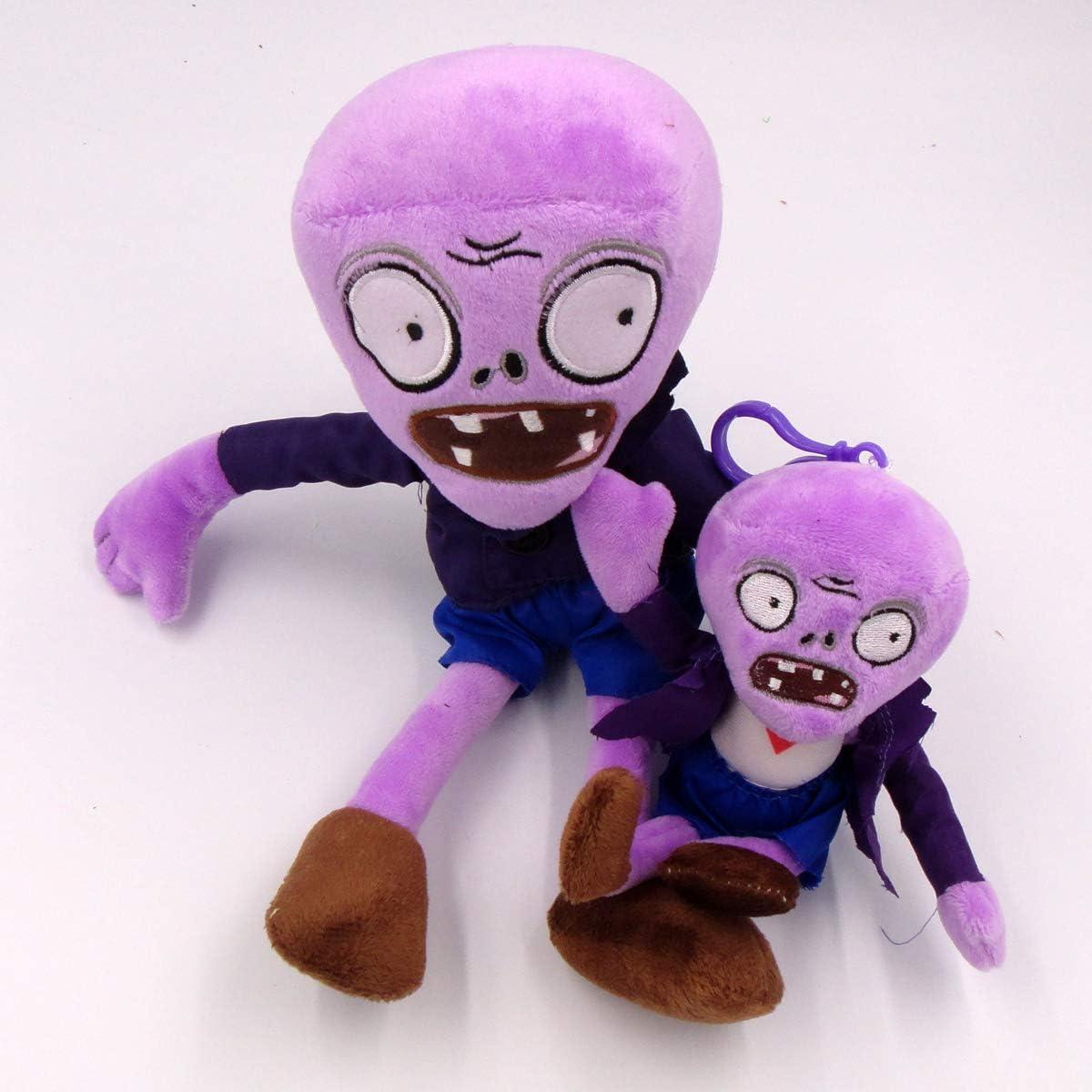 TavasHome Plants VS Zombies 2 PVZ Figures Plush Toys Set,Stuffed Soft Game Doll - Purple Zombie and A Baby Zombie