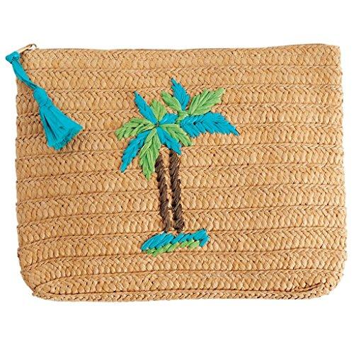 Mud Pie Women's Fashion Beach Straw Case (Palm Tree)