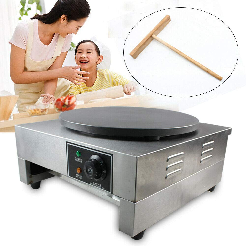 Electric Crepe Maker, 16'' Commercial Electric Crepe Maker Pancake Griddle Machine Single Hotplate Non Stick for Pancakes, Blintzes, Eggs US