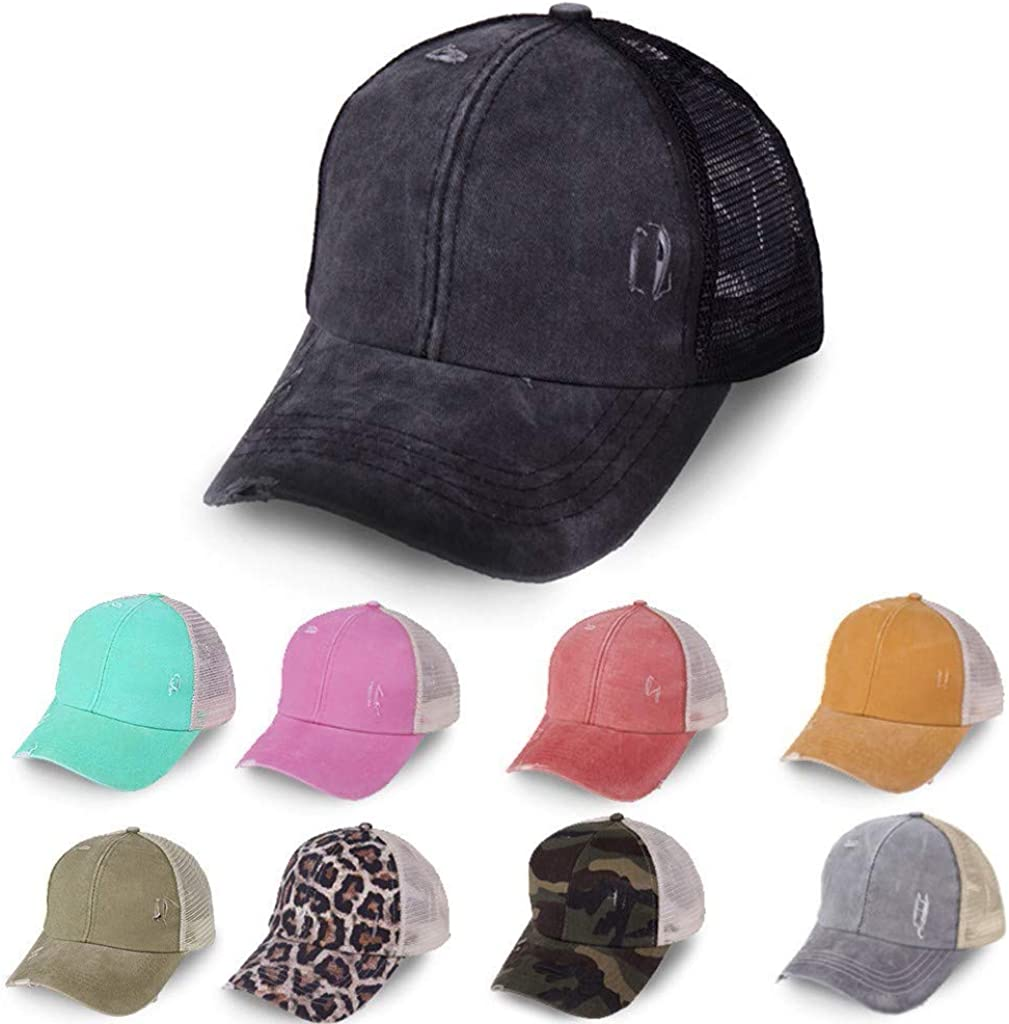 Vintage Ponytail Top Hats for Women Baseball Caps High Messy Bun Hat Ponycaps Adjustable Baseball Cap Mesh Back Trucker Hat