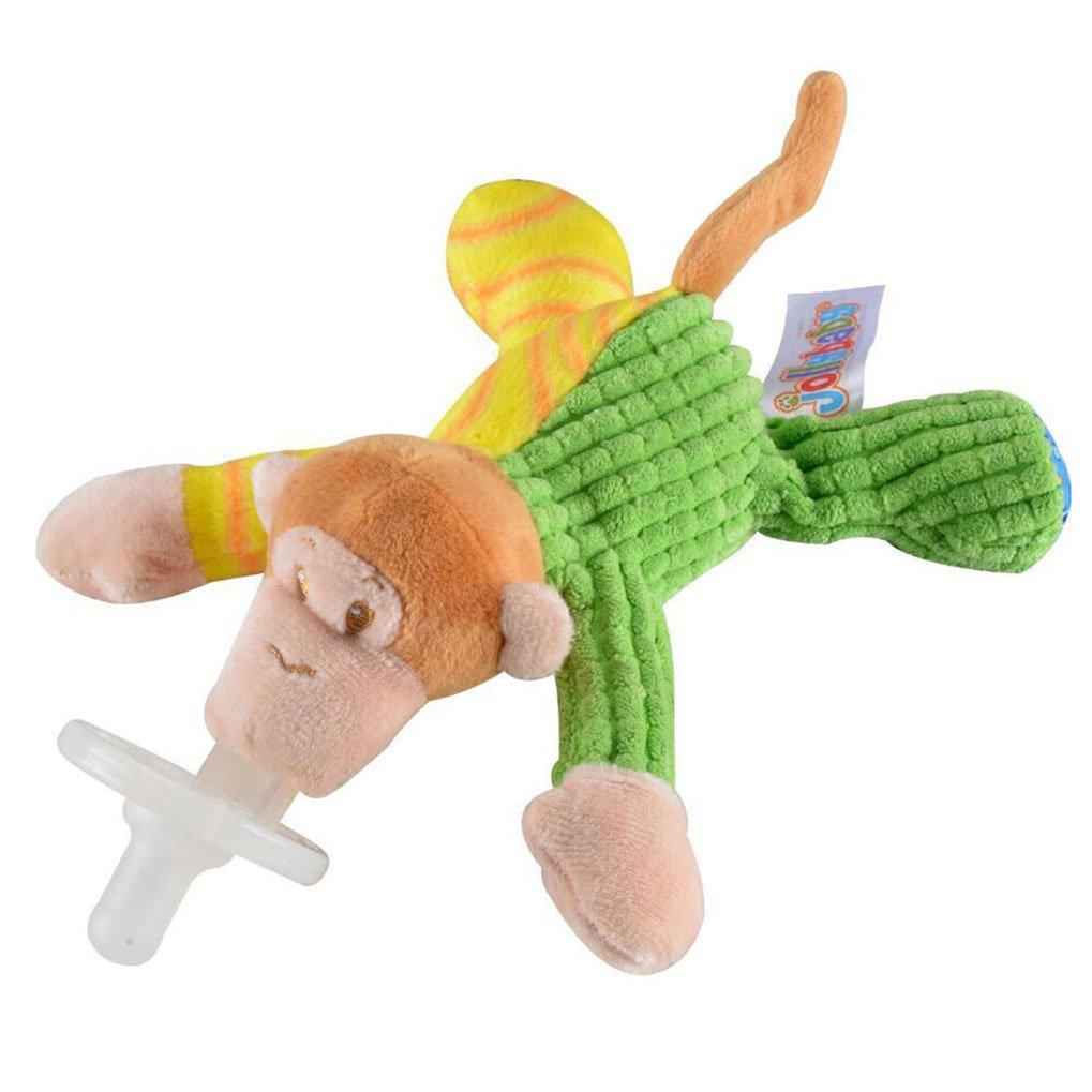 Amazemarket Baby Pacifier Chupete Animal Juguetes Bebé Silicona Pezón con Suave Felpa Juguete Regalo Perfecto para Bebé Infante (Mono)