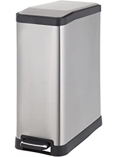 Delightful HomeZone 45 Liter Stainless Steel Rectangular Step Trash Can