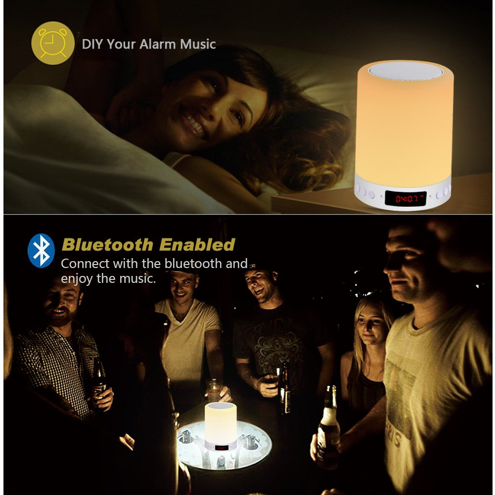 ACTOPP LED Bluetooth Speaker,Touch Sensor Bedside Lamp+Dimmable Warm White Light&Color Changing Night Light,6 Colors Changing, Smart Touch, Alarm Clock, Hands-free, Timing Function