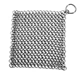 Cusfull Premium Kitchen Cast Iron Cleaner Stainless Steel Chainmail Scrubber 7 x 7 Inch