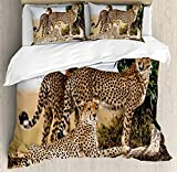 Africa Bet Set 4pcs Bedding Sets Duvet Cover Flat Sheet No Comforter with Decorative Pillow Cases Twin Size for Kid Teens-Cheetahs Mother and Two Young Baby Looking for Food Dangerous Exotic Animals
