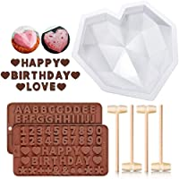Diamond Heart Shaped Mousse Cake Mold Trays, 8.7 inch Silicone Dessert Baking Pan Safe Not Sticky Mould with 4 Pcs Wooden Hammers and 2 Chocolate Molds for Home Kitchen DIY Baking Tools