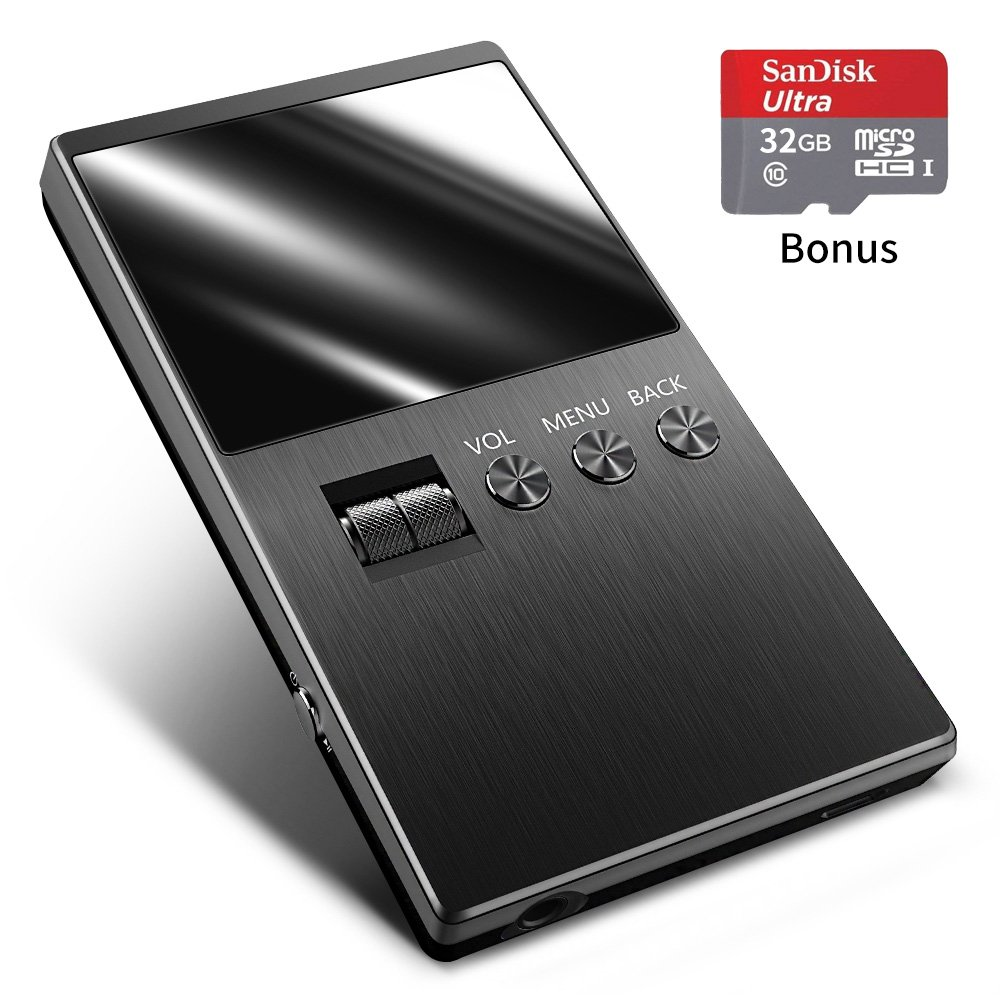 TALLA 32GB. Reproductor MP3 Música de Alta resolución, Compatible con Tarjeta Micro SD de hasta 128 GB de Almacenamiento Ampliable (Espacio Gris)