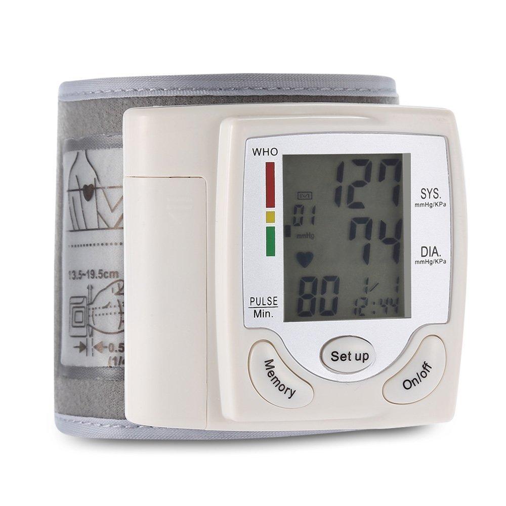 Monitor de Presión Arterial de Muñeca, Pantalla LCD Digital Puño de Muñeca con Detección de Ritmo Cardíaco Pulsante, 90 Memoria (Blanco): Amazon.es: Salud y ...