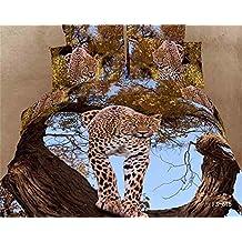 Dodou Bedding 3d 100% Cotton Bedding Sets Sexy Leopard Cheetah Animal Print Duvet Cover Set 4pcs ( Queen)