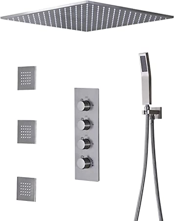 20 inch Square Rain Thermostaic Shower Faucet Combo System w//Massager Bodys Jet