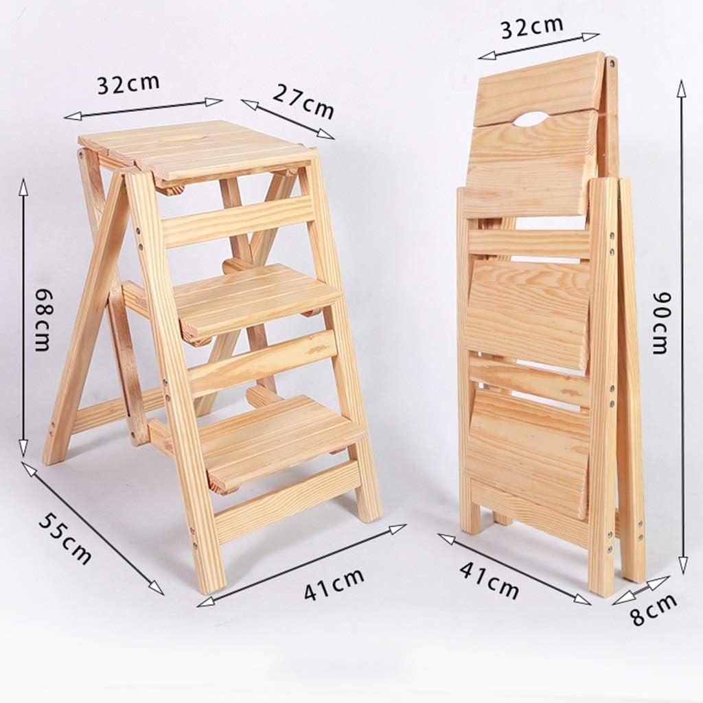 Color : Brown Z-STOOL Massivholz 3 Stufen Leiter rutschfeste Hocker Schritt Klappstuhl Multifunktionale Dekoration Tragbare Leiter Schritt Schuh Bank