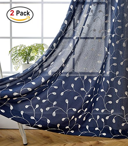 Miuco Floral Embroidered Semi Sheer Curtains Faux Linen Grommet Curtains for Bedroom 52 x 84 Inch 2 Panels, Navy Blue