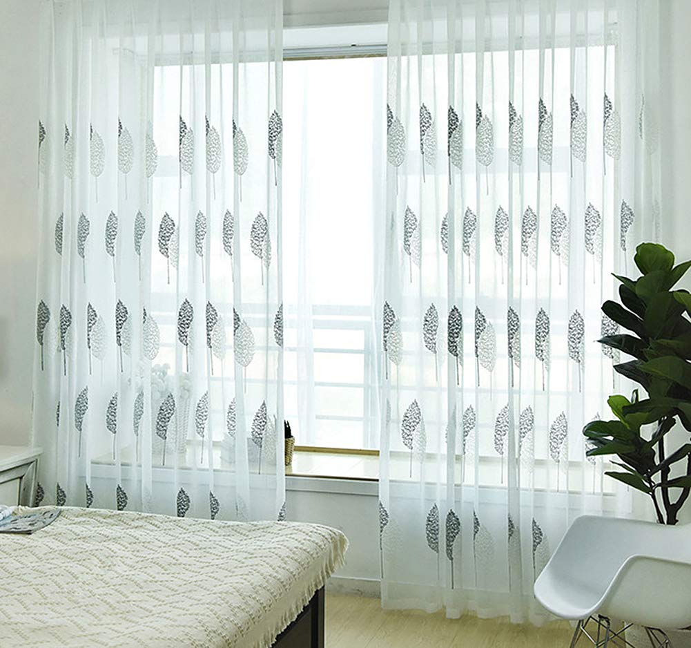 Aside Bside Sheer Curtains Vintage Style Rod Pocket Top Twin Trees Knitting Transparent Window Decoration Houseroom Kitchen Sitting Room (1 Panel, W 50 x L 63 inch, White)