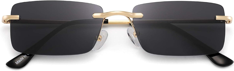 GLINDAR Vintage Rectangular Sunglasses Slender Rimless Clear Eyewear Spring Hinge