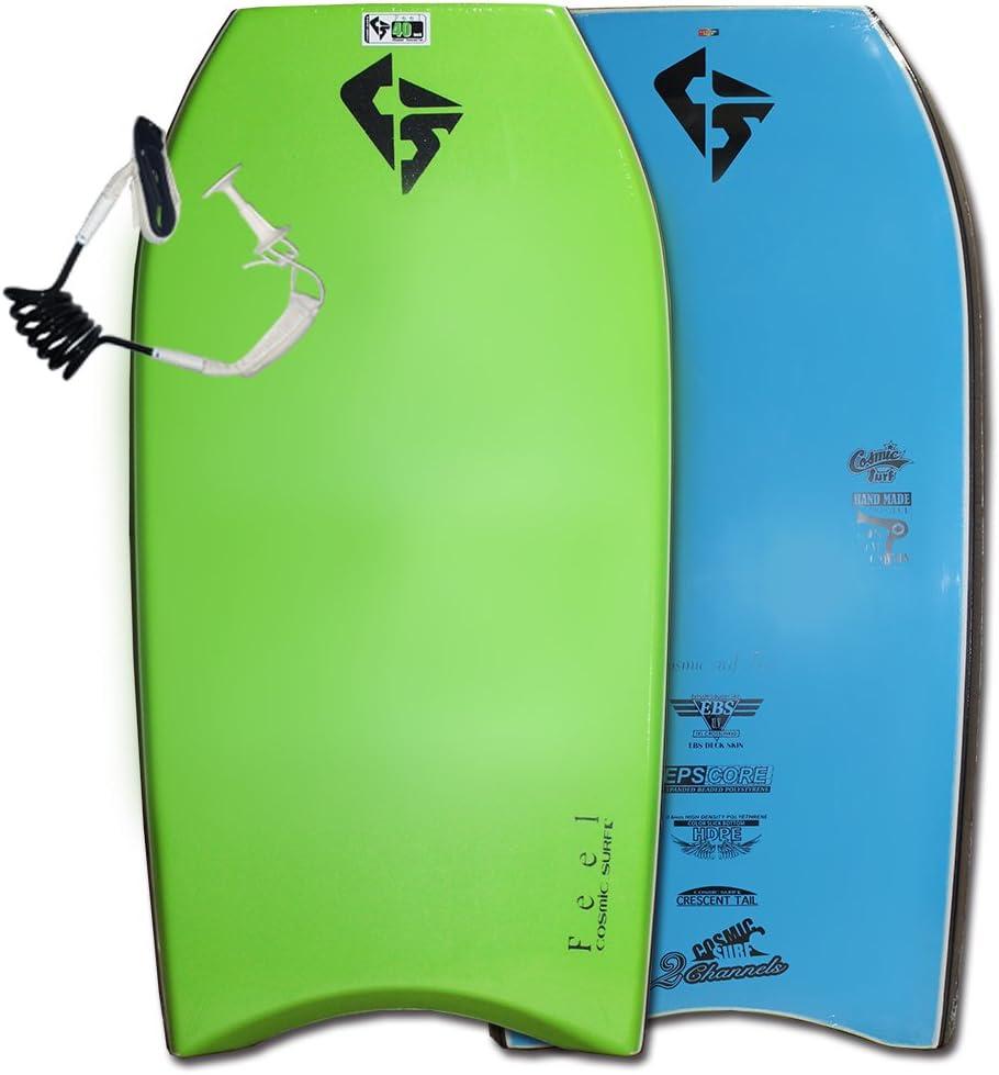 ボディボード メンズ 40 42 インチ cosmic surf/FEEL リーシュコード2点セット 最新ニューモデル ライム/ブラック