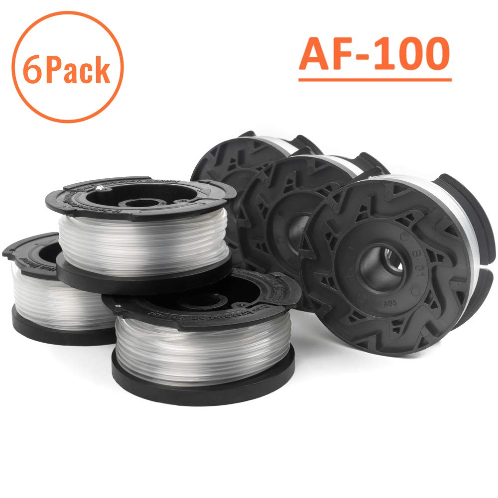 """X Home AF-100 Weed Eater Spools Compatible with Black Decker GH900 GH600 LST522 LCC140 String Trimmer Replacement Spool Refills 30ft 0.065/"""" Auto-Feed Single Lines Edger Parts Grass Trimmers 6 pcs"""