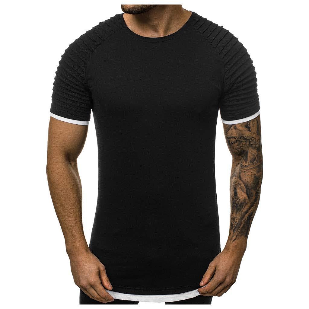 Oyedens Design for Men,Mens Fake Two Piece Pleats Gradient Pattern Casual Lapel Short Sleeve Shirt