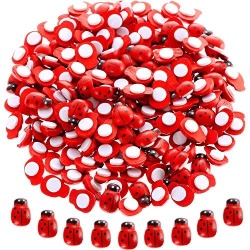 Blulu 200 Pieces Mini Ladybugs Wooden Ladybug Shaped Stickers Self-Adhesive Ladybugs for Garden, Potted Plants Decor