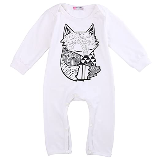 849c2907d Cute Toddler Baby Girls Boys Fox Romper Bodysuit Outfits One-pieces (6-12