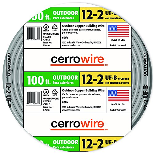Cerro Wire 138-1602CR-3 Type UF-B 100-Foot 2-Conductor Underground Feeder (Cerro Wire)