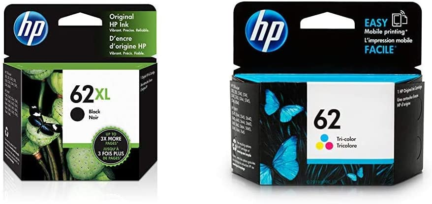 HP 62XL | Ink Cartridge | Black | C2P05AN & 62 | Ink Cartridge | Tri-Color | C2P06AN