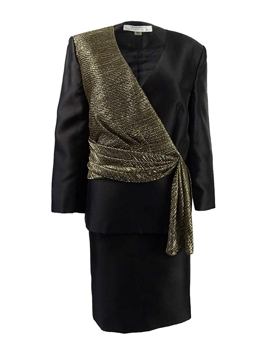 Tahari ASL Womens Metallic Asymmetrical Skirt Suit 6, Black//Gold