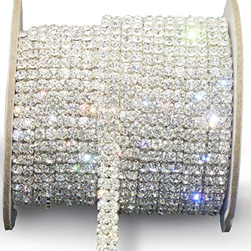 Awakingdemi Crystal Rhinestone Close Chain, Fashion SS16 Clear Rhinestone 1 Yard 2-Row Close Chain Trims Silver for Weeding DIY Decoration