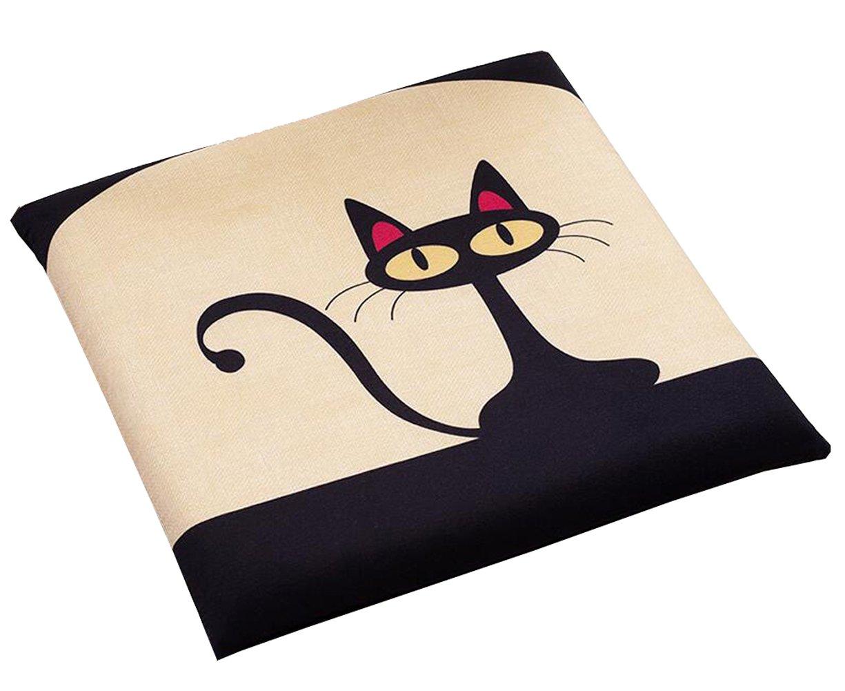 Cute Cartoon Animal Seat Cushion Soft Home Office Dining Chair Cushion (Black Cat)