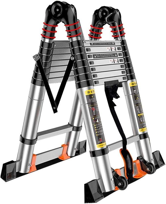 Escalera extensible/ Escalera telescópica Carga telescópica de Escalera 150 kg - Escalera Plegable de Aluminio con Marco en Forma de A, Trabajos en Interiores al Aire Libre, 3.4M / 4.2M: Amazon.es: Hogar