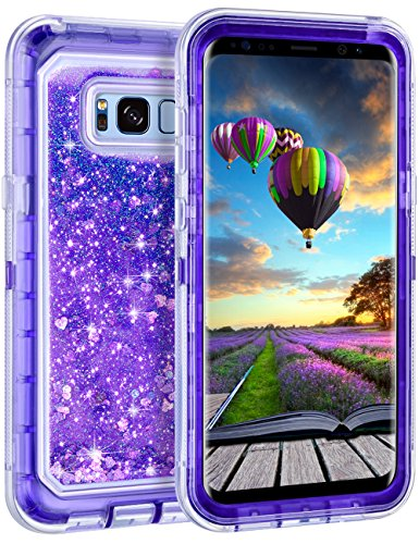 Samsung Galaxy S8 Case, Coolden Luxury Floating Glitter Case Sparkle Bling Quicksand Liquid Cover Clear Shockproof Bumper Dual Layer Anti-Drop PC Frame + TPU Back for Galaxy S8, Purple