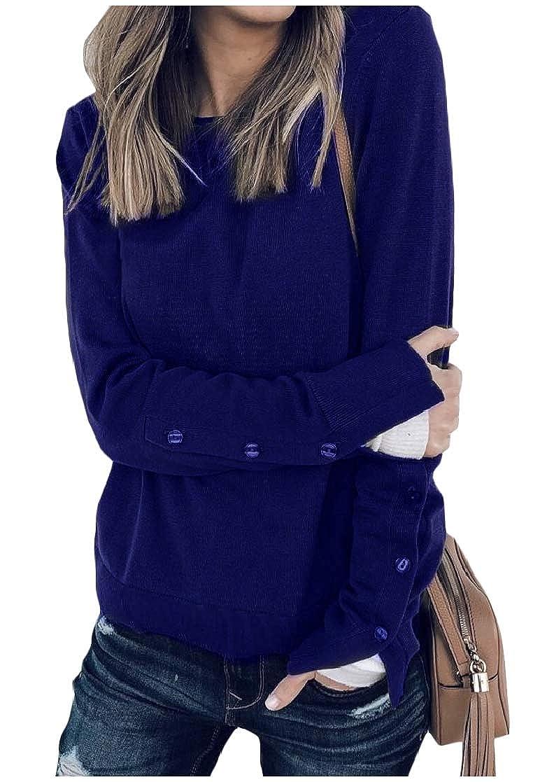 YUNY Women Split Long Sleeve Stitching Pullover Fall Winter T-Shirt Top Blue XS