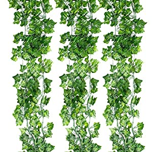 Yihongda Fake Garland Leaves,12pcs (78.7 Feet) Artificial Ivy Leaves Fake Hanging Plant Scindapsus Leaves Garland Home Office Garden Wall Decoration 61