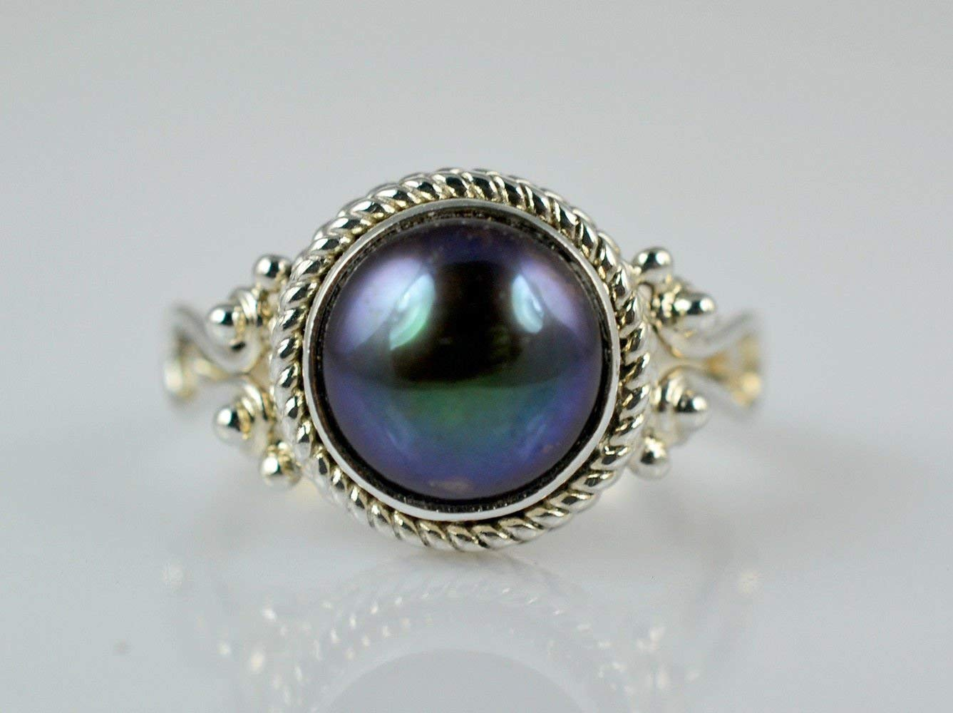 Fresh Water Black Pearl 925 Solid Sterling Silver Handmade Ring Size 5 US