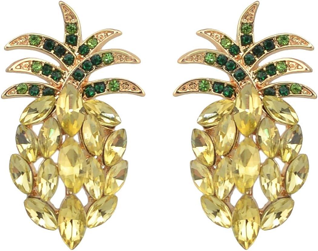 Antique Vintage Retro Style Yellow Pineapple Rhinestone Cluster Earrings