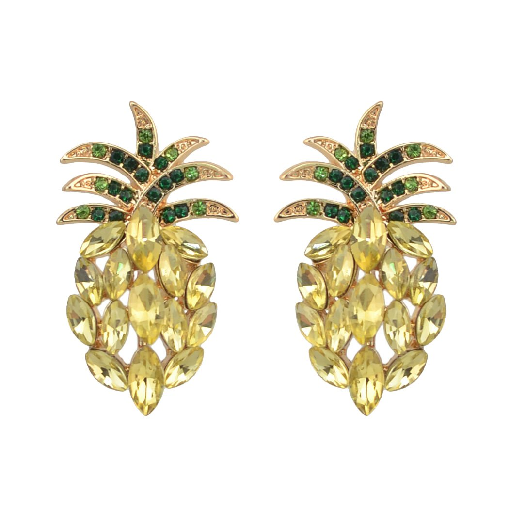 Antique Vintage Retro Style Yellow Pineapple Rhinestone Cluster Earrings