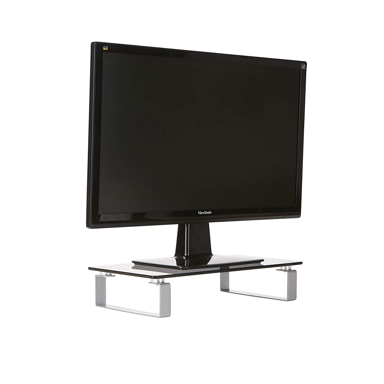 Mind Reader CLR, Desktop Monitor Riser for Computer, Laptop, Desk, iMac, Dell, HP, Clear, Small Glass Stand