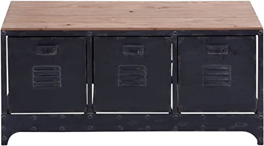Deco 79 51851 Brown Metal Wood Storage Bench With 3 File Cabinet Drawers 39 X 19