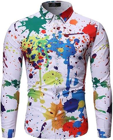 Nuevas Camisas Delgadas de Manga Larga para Hombres, Camisa Estampada Colorida Splash Ink Graffiti: Amazon.es: Ropa y accesorios