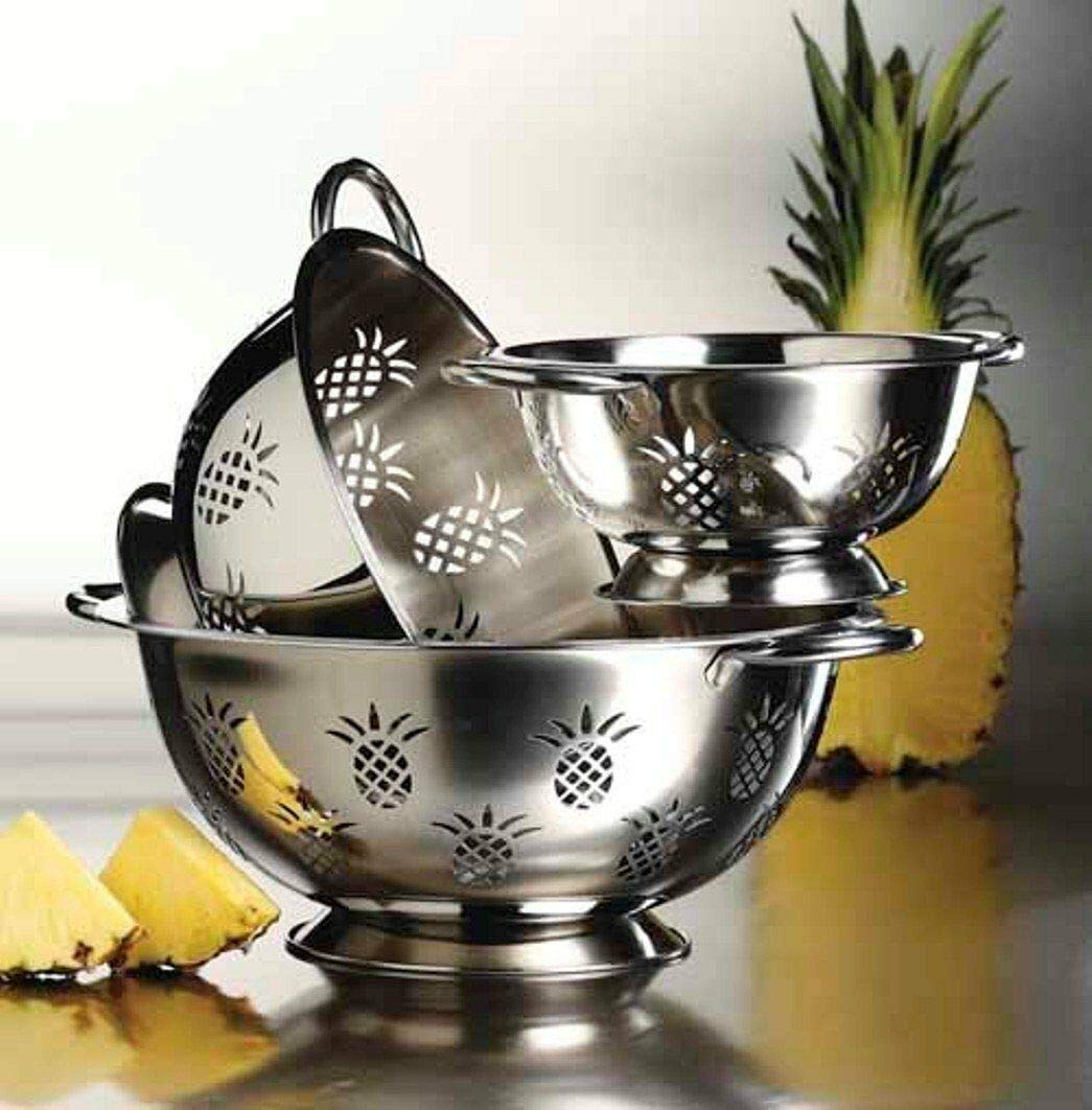 New Hight Quality Stainless Steel Deep 3 pcs. Colander Strainer Set - Pineapple by DN_ICY