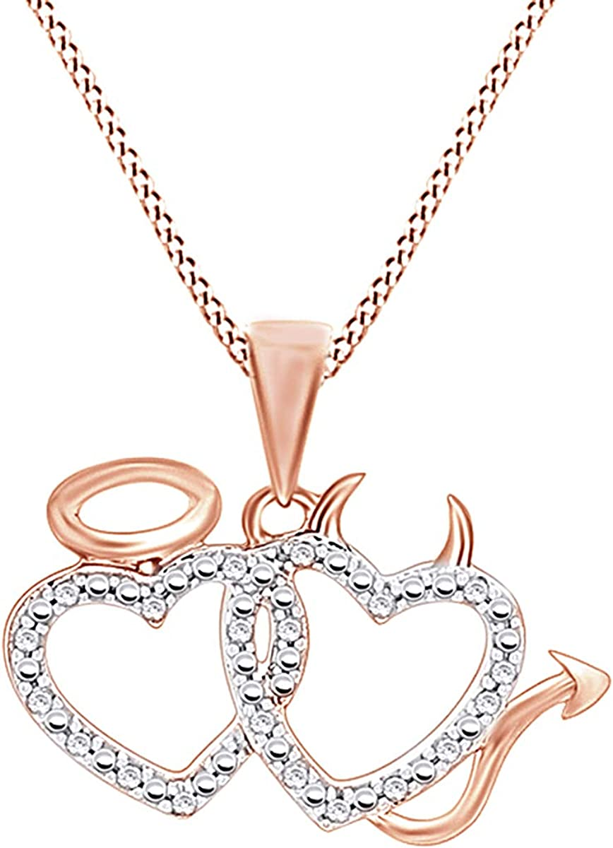 Jewel Zone US 0.15 Ct Round Cubic Zirconia Devil Angel Heart Pendant Necklace in 14K Gold Over Sterling Silver